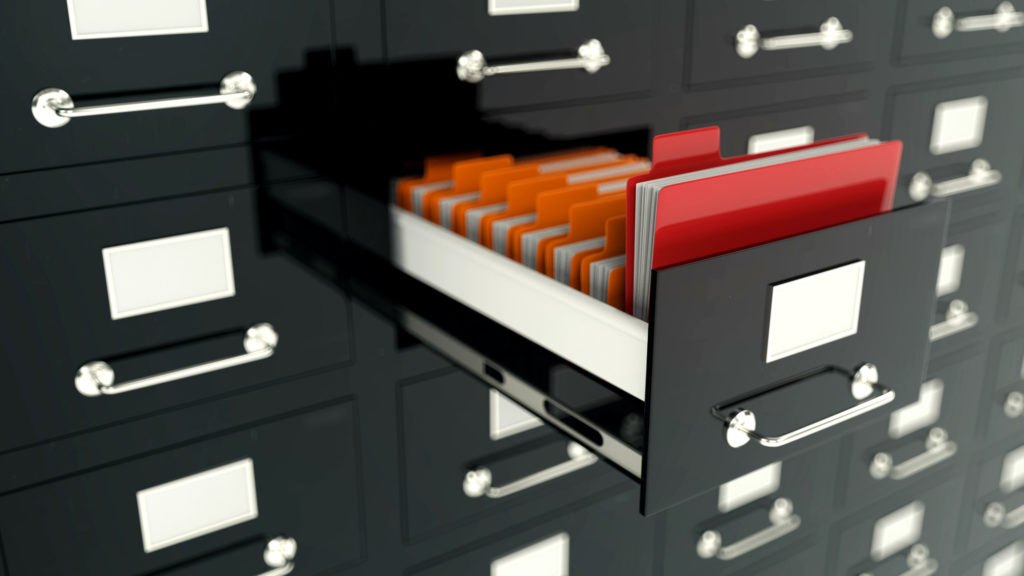 archive drawers with files